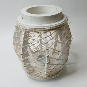 Nautical white wood and net tea light holder NWT
